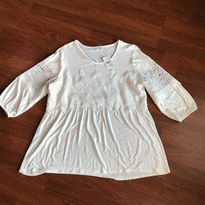 Lace Detail White Top by C Est 1946 NWT